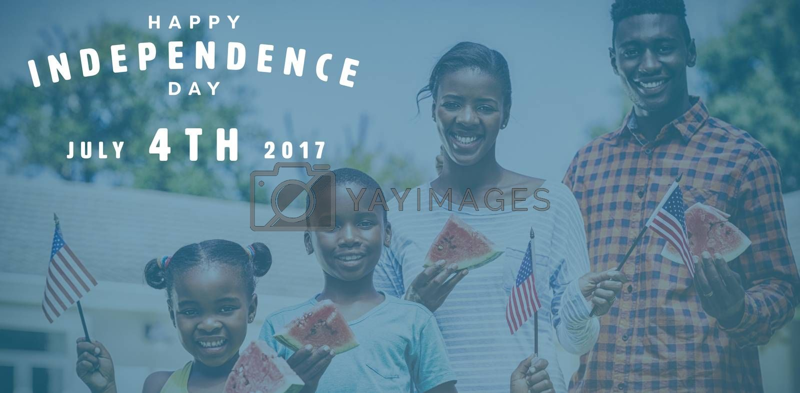 Happy 4th of july text on white background against happy family showing usa flag at park