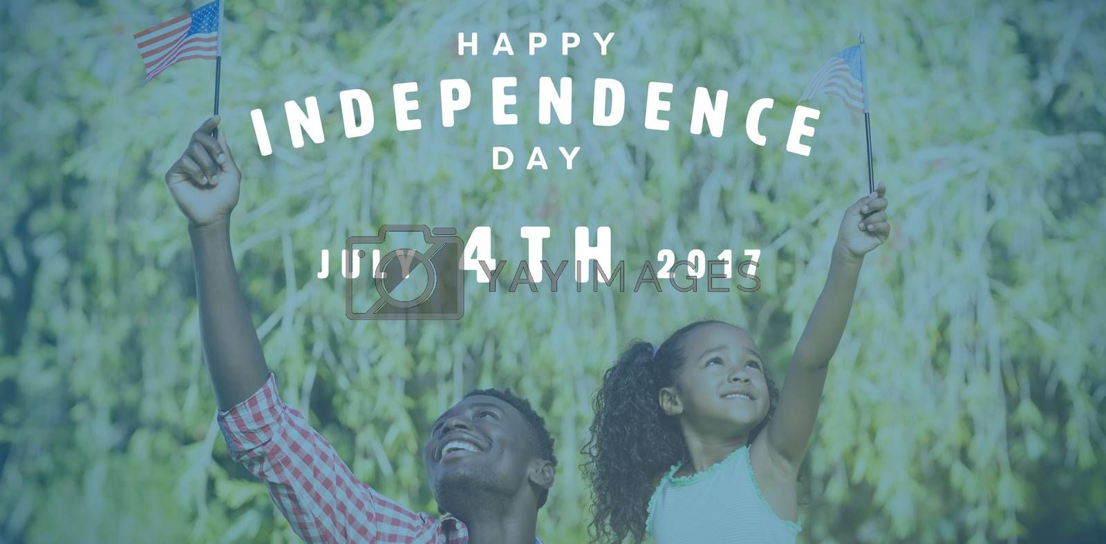 Happy 4th of july text on white background against happy father and daughter holding american flags on sunny day