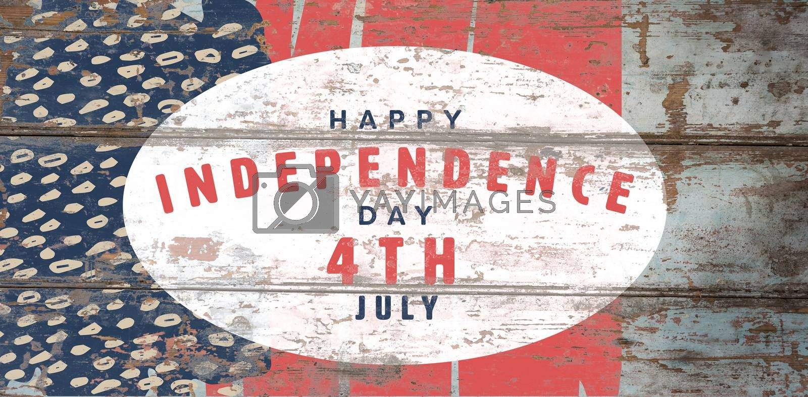 Happy 4th of july text on white background against wood background