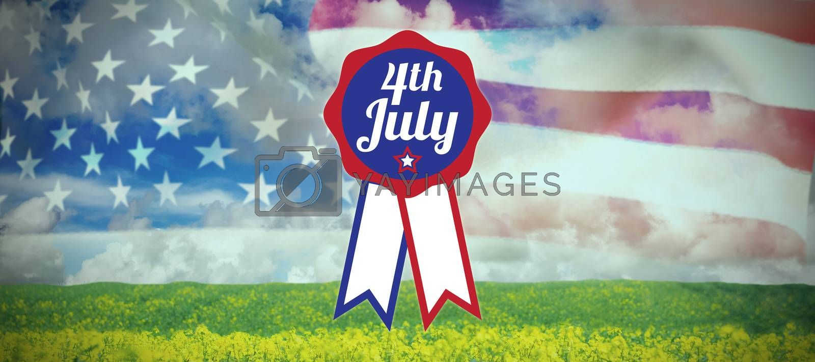 Royalty free image of Composite image of close up of badge with 4th july text  by Wavebreakmedia