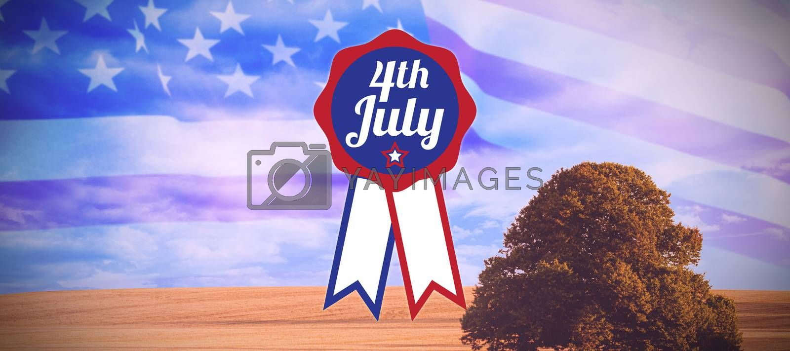 Close up of badge with 4th July text  against sunny brown landscape