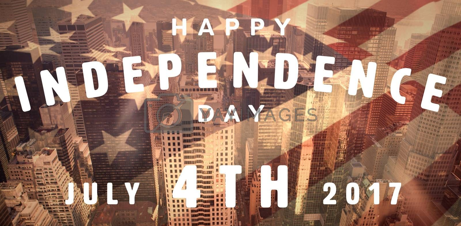 Royalty free image of Composite image of happy 4th of july text on white background by Wavebreakmedia