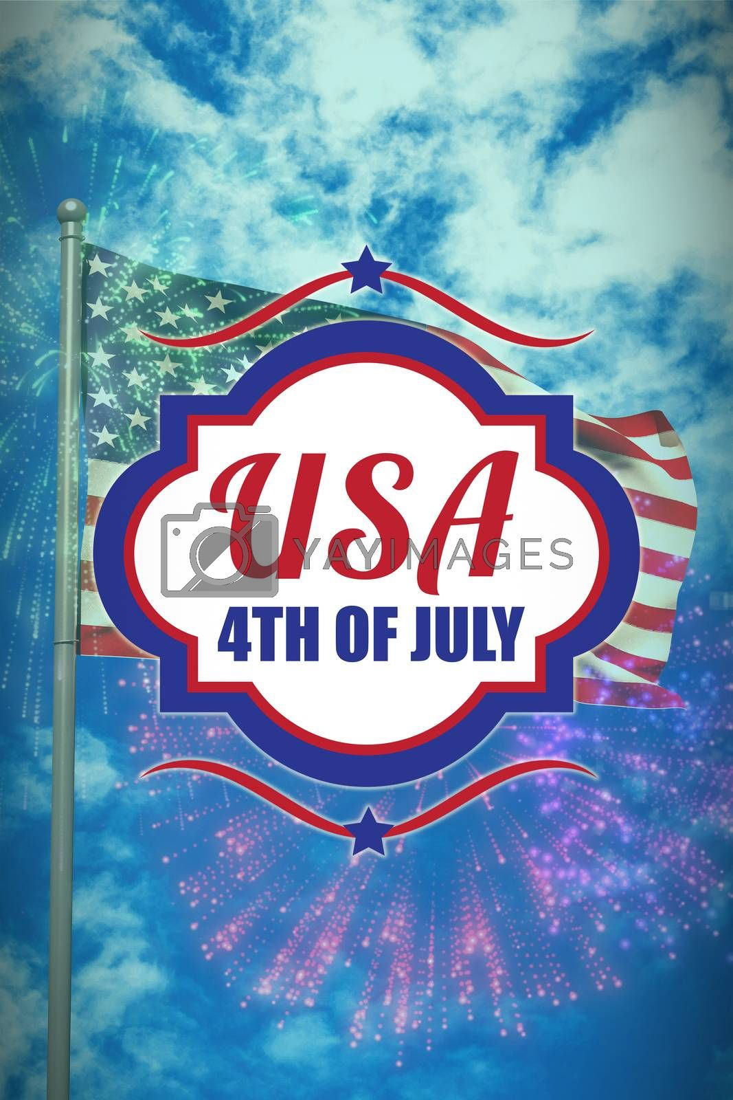Royalty free image of Composite image of digitally generated image of 4th of july text  by Wavebreakmedia