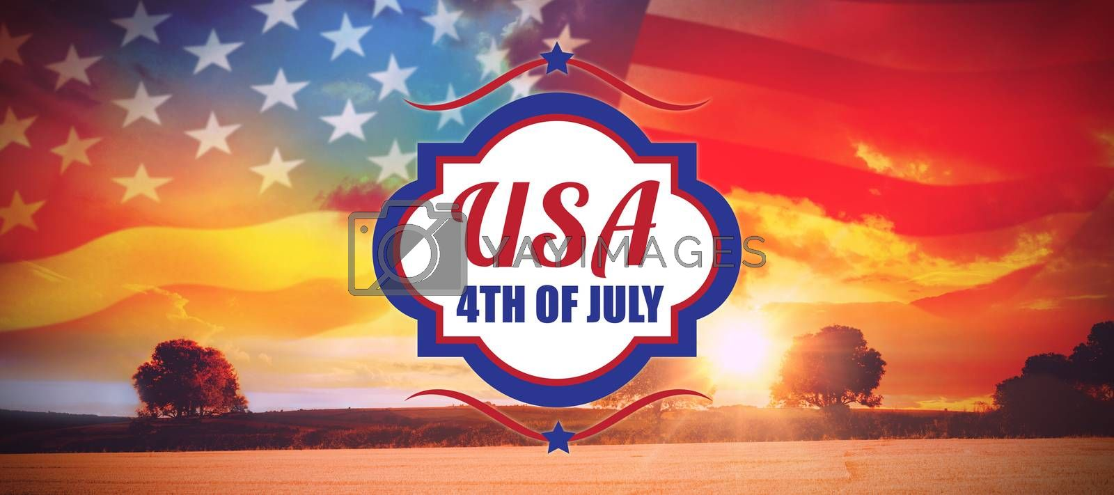 Digitally generated image of 4th of july text  against countryside scene