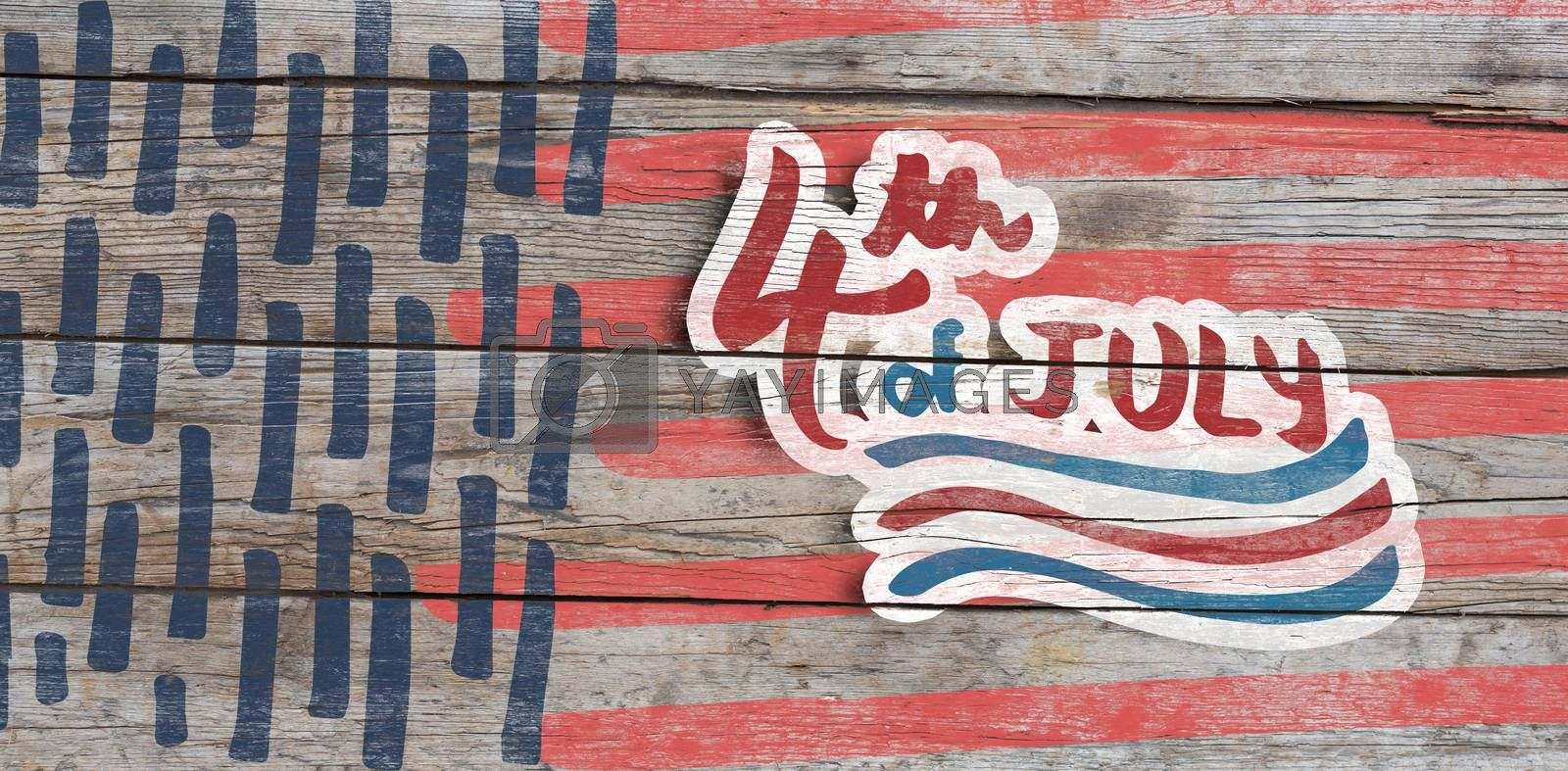 Digitally generated image of 4th of july text  against full frame of wooden wall