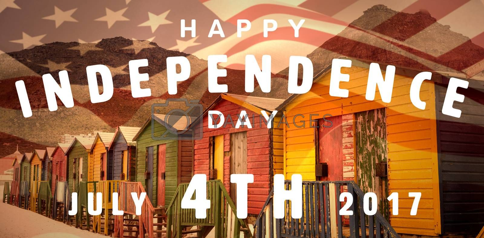 Happy 4th of july text on white background against multi colored wooden huts by mountain at beach