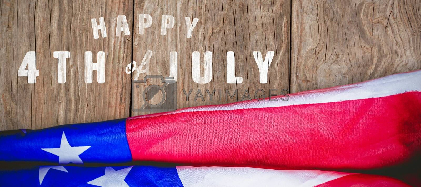 Digitally generated image of happy 4th of july text against close-up of wooden texture