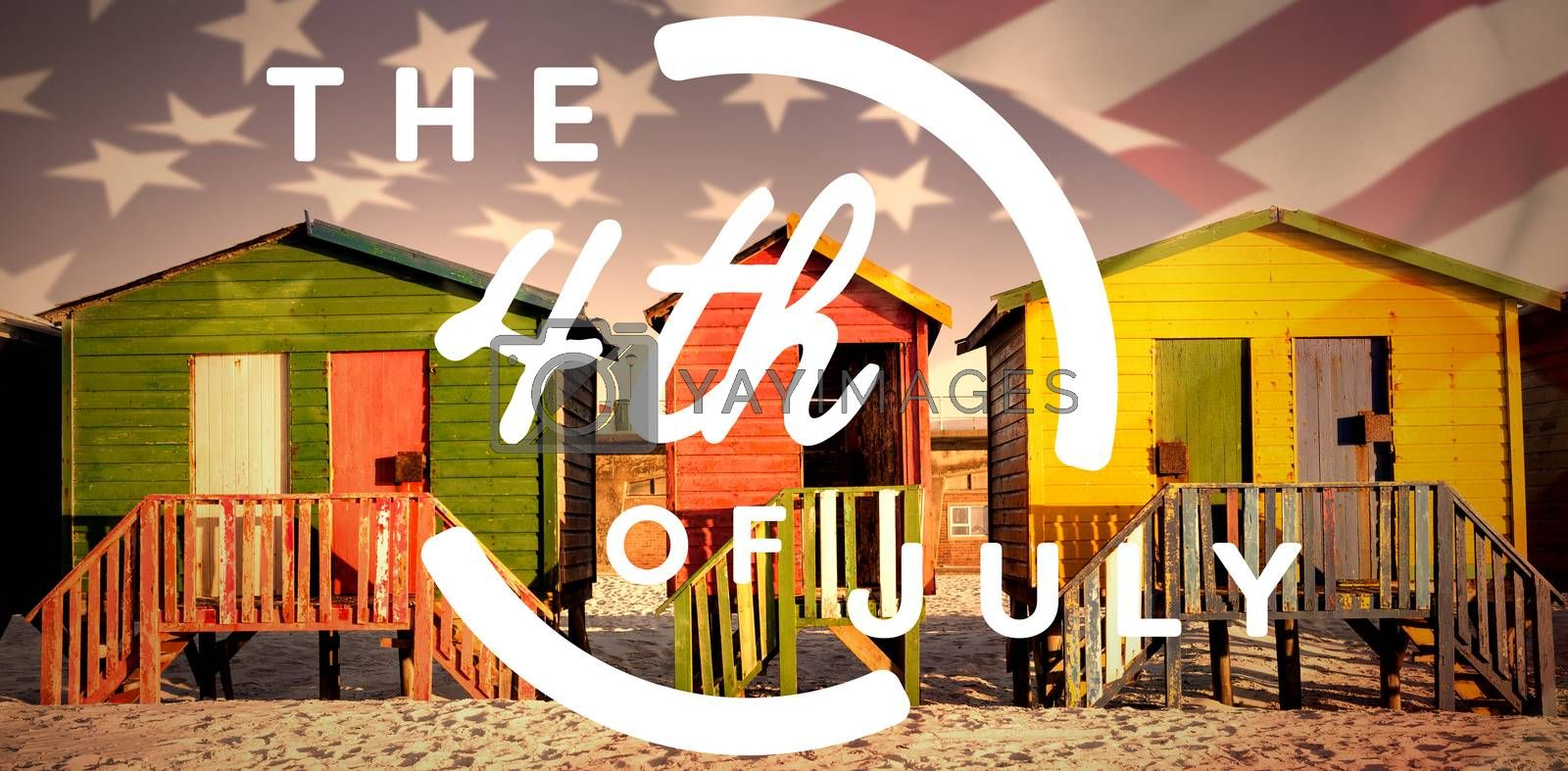 Royalty free image of Composite image of colorful happy 4th of july text against white background by Wavebreakmedia