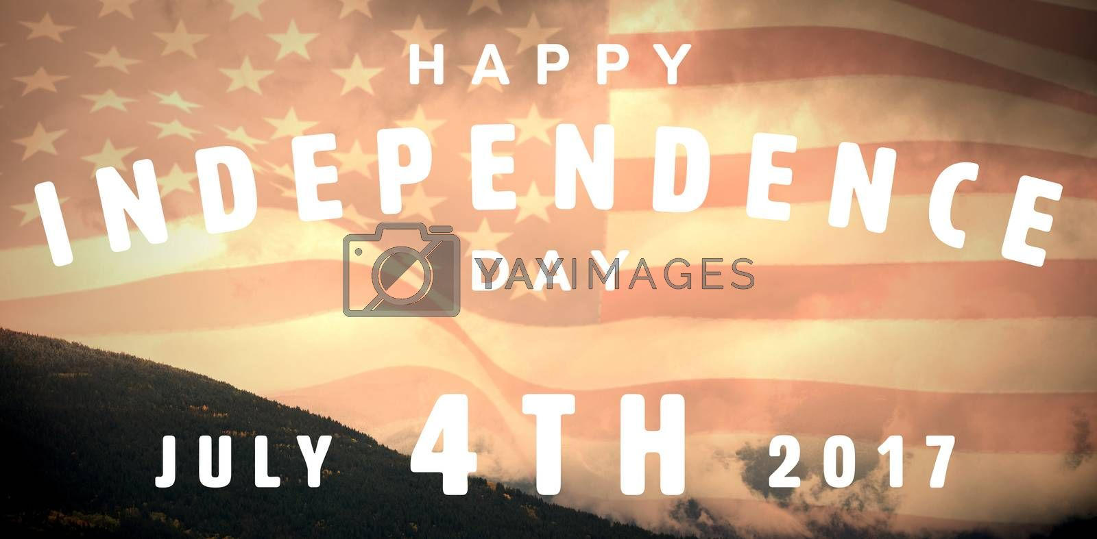 Happy 4th of july text on white background against view of mountain and cloudy sky