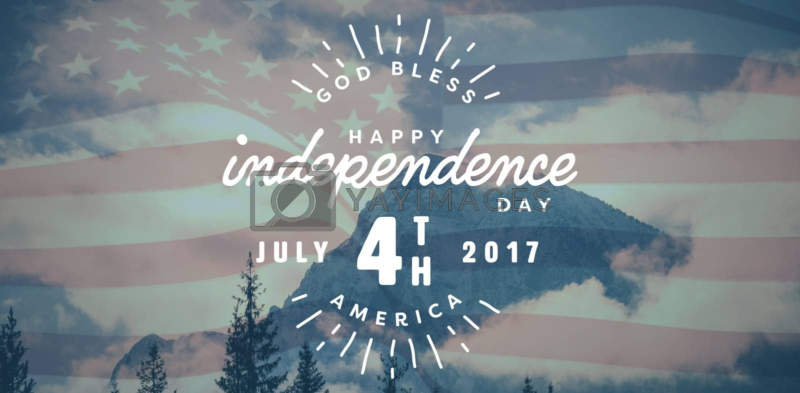 Royalty free image of Composite image of digitally generated image of happy 4th of july text by Wavebreakmedia