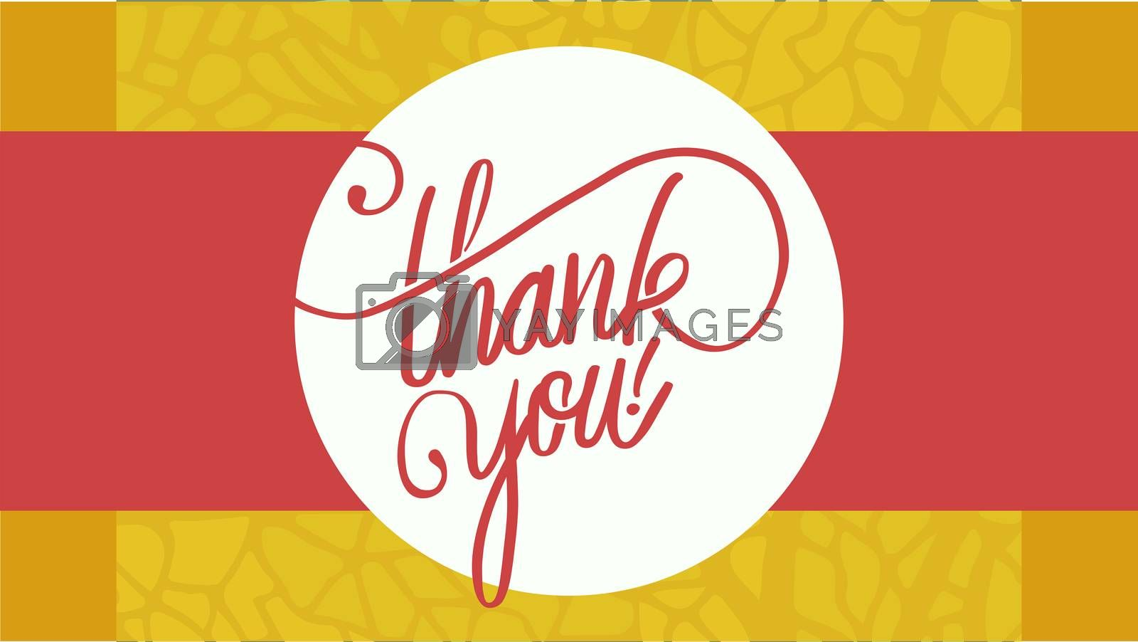 Vector image of text thank you against colored background