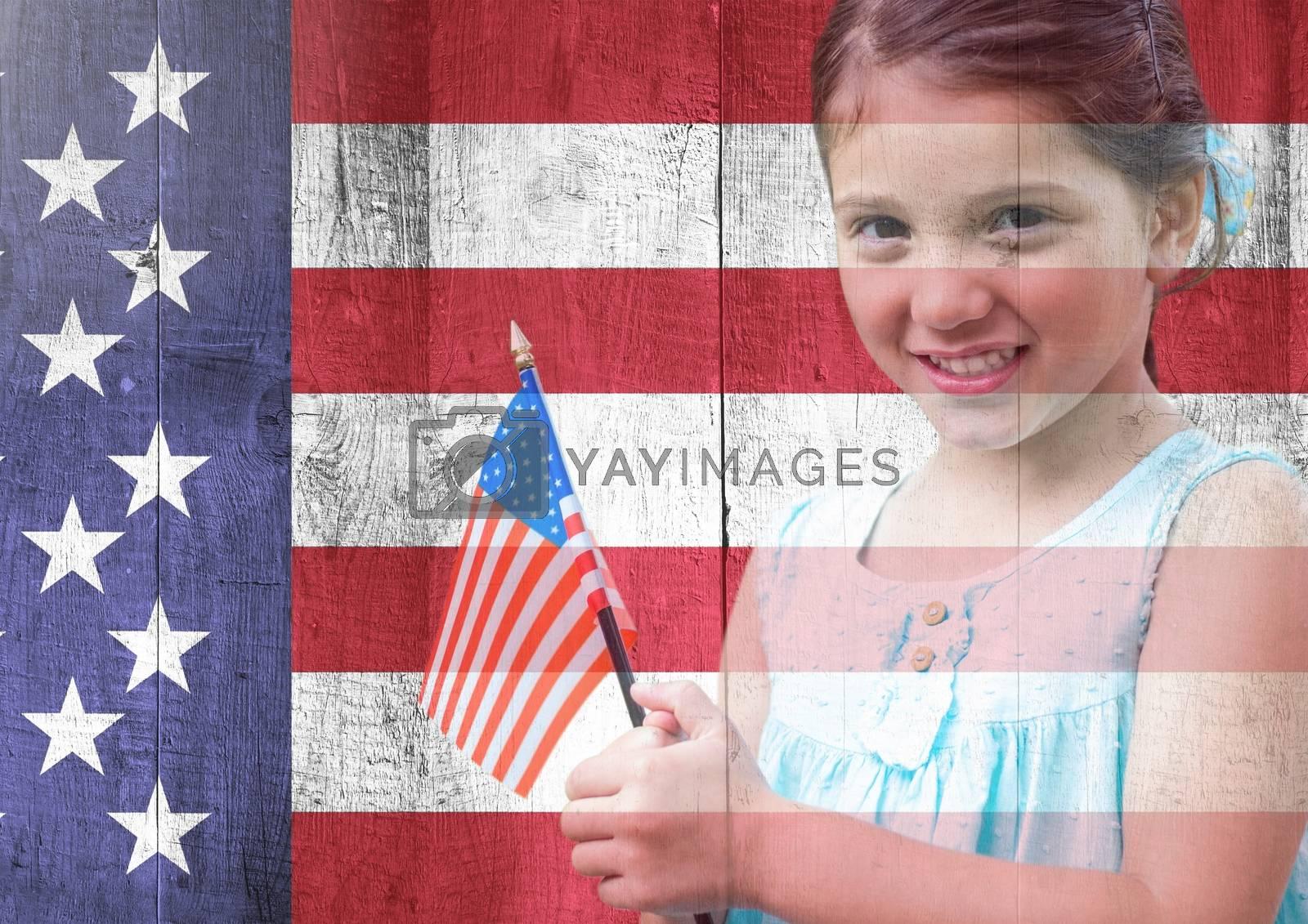 Digital composite of Little girl holding american flag against american flag