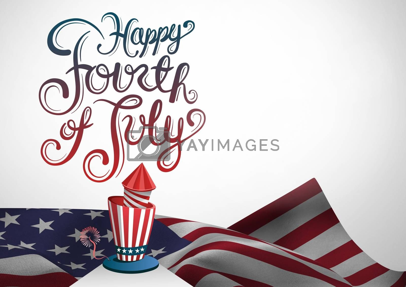 Digital composite of Composite image for the 4th of July with american flag