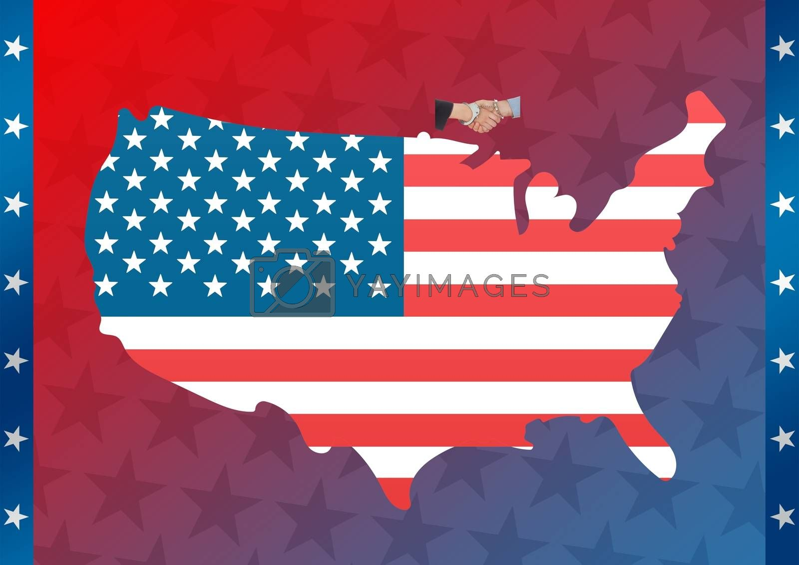 Digital composite of Composite image of the american flag on a map