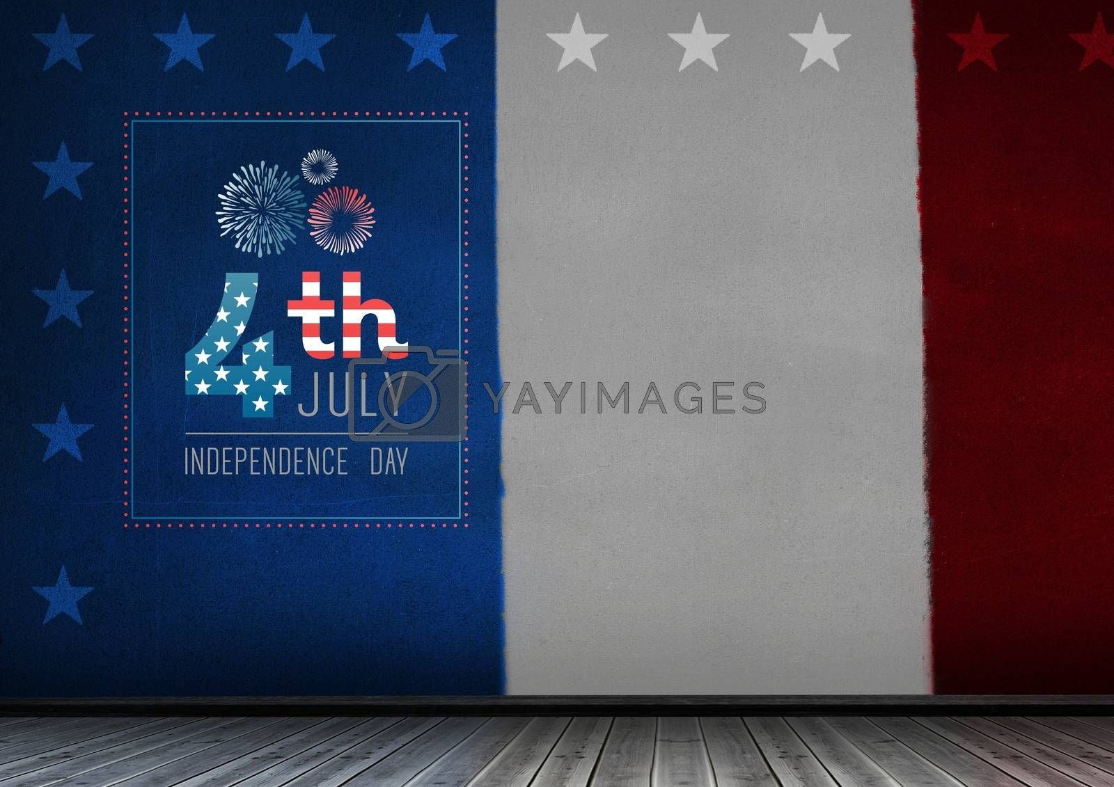 Digital composite of Composite image for the 4th of July against the french flag