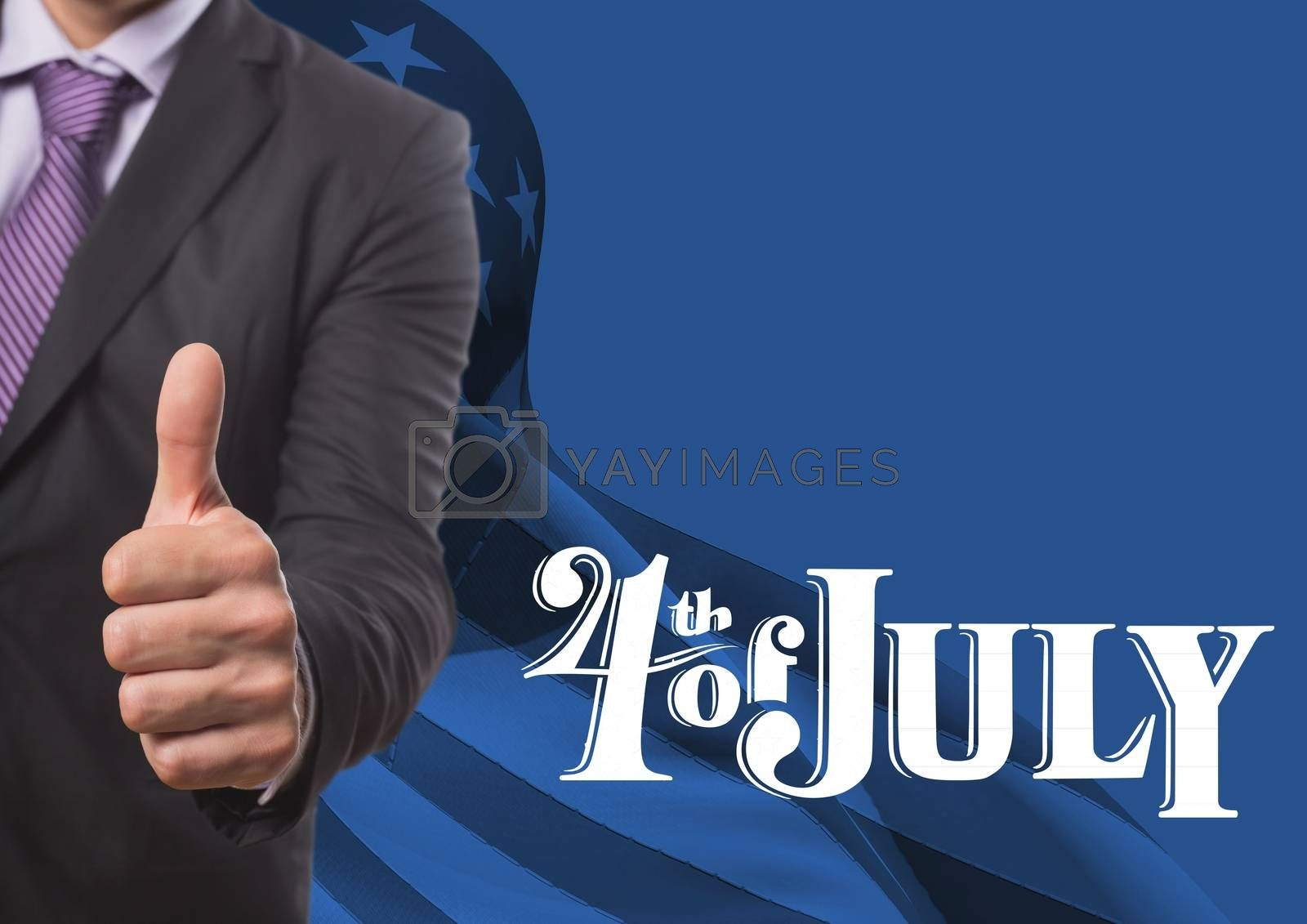 Royalty free image of Business man with thumb up for the 4th of july by Wavebreakmedia