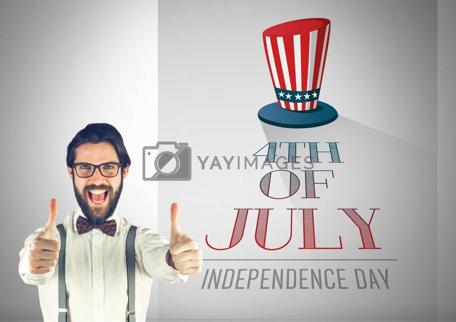 Digital composite of Business man with thumbs up against illustration for the 4th of july