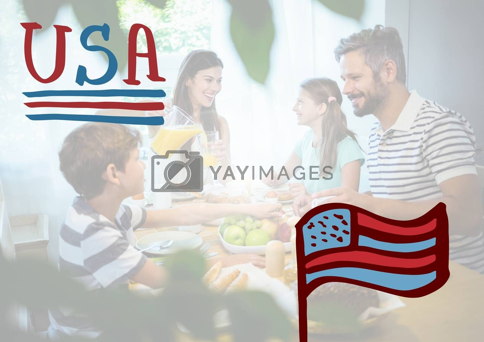 Digital composite of Happy american family in a house for the 4th of July