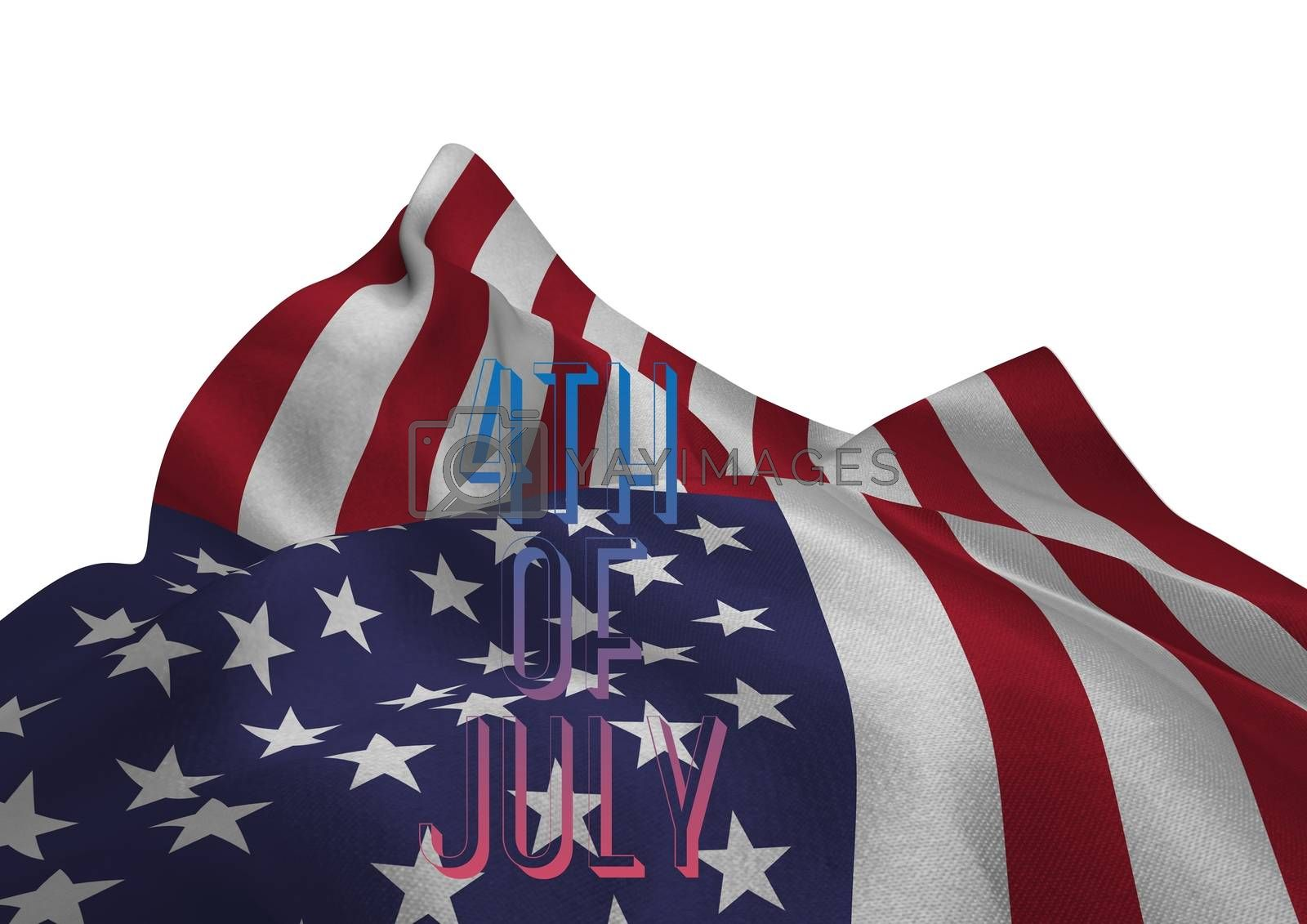 Digital composite of 4th of July word against american flag