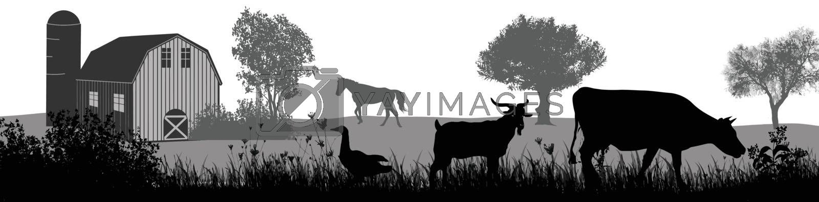 Farm animals silhouette on beautiful rural landscape on white background, vector illustration