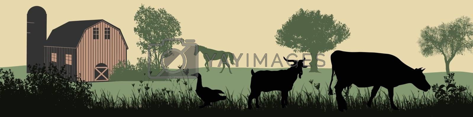 Farm animals silhouette on beautiful rural landscape, vector illustration