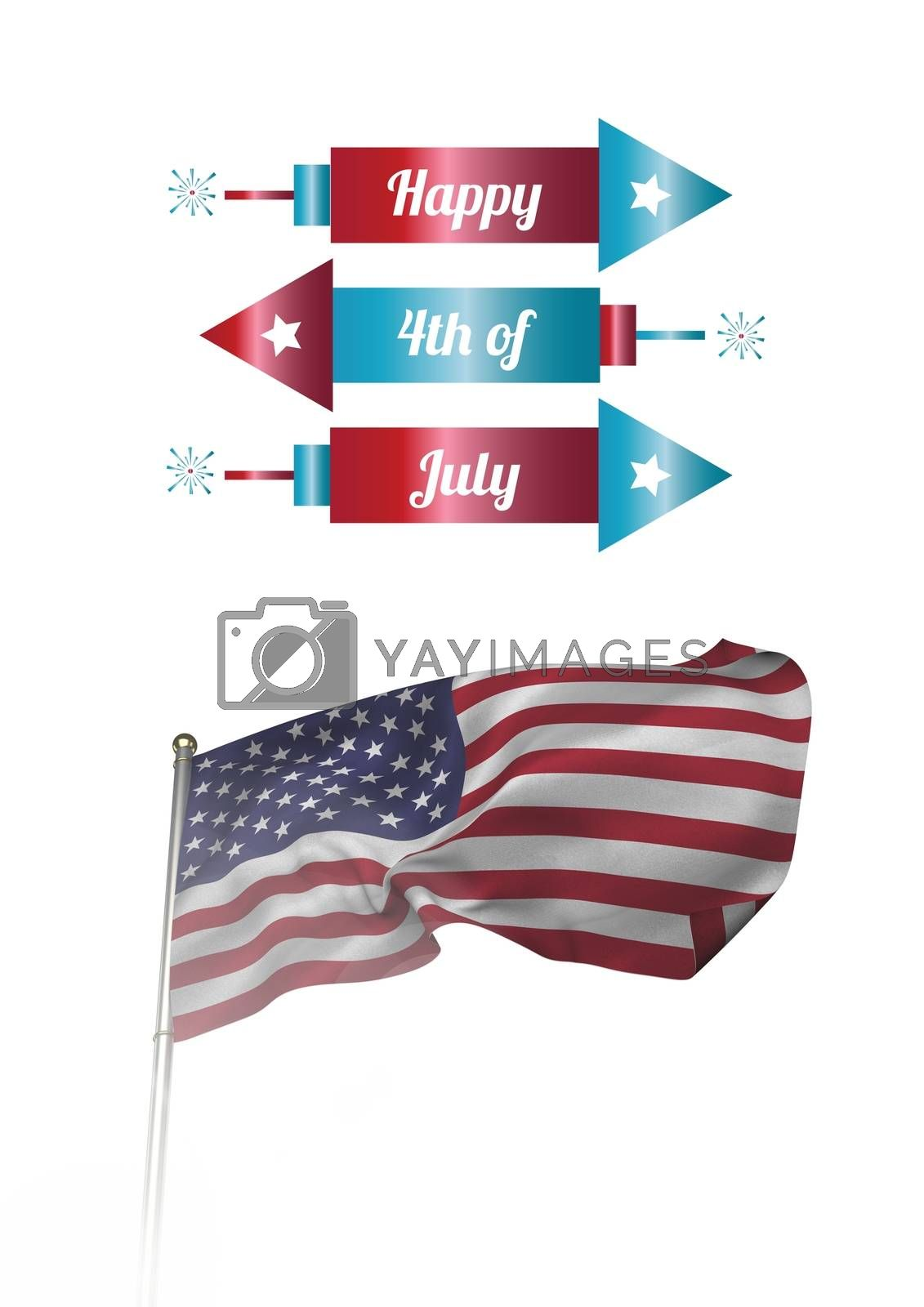 Digital composite of Composite image with fireworks and american flag for the 4th of July