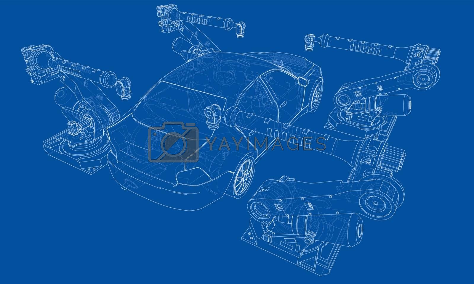 Assembly of motor vehicle. Vector by cherezoff