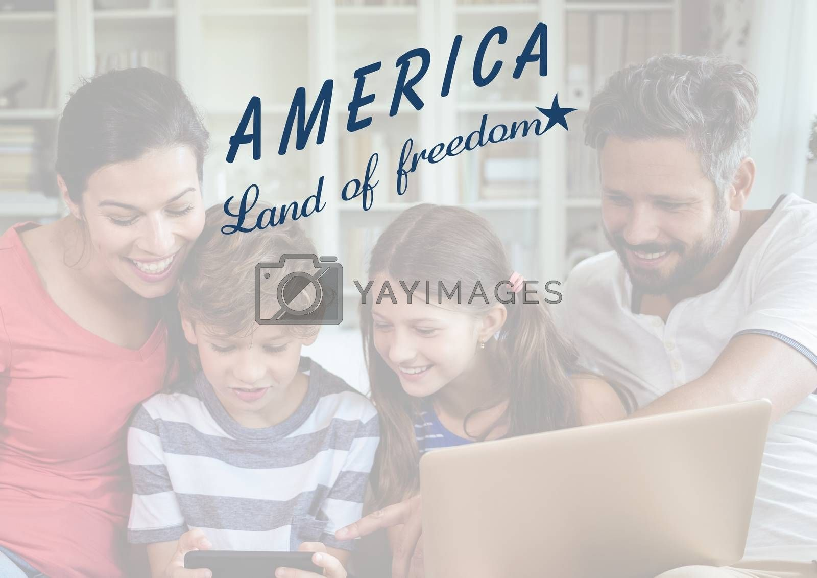 Digital composite of Happy american family looking at the digital tablet for the 4th of July