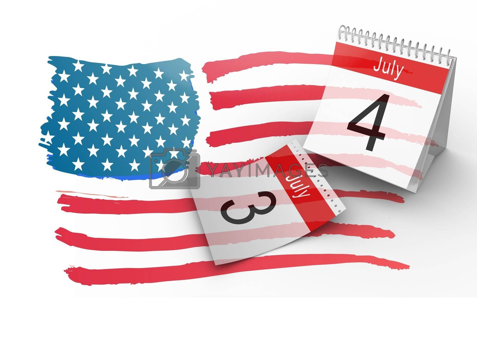 Digital composite of 4th of July Calendar with drawn american flag