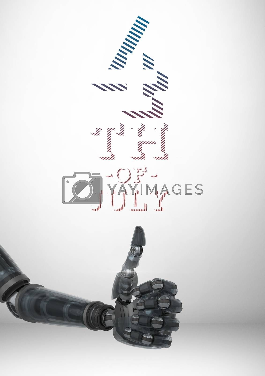 Digital composite of Composite image of robot with thumbs up for the 4th of july