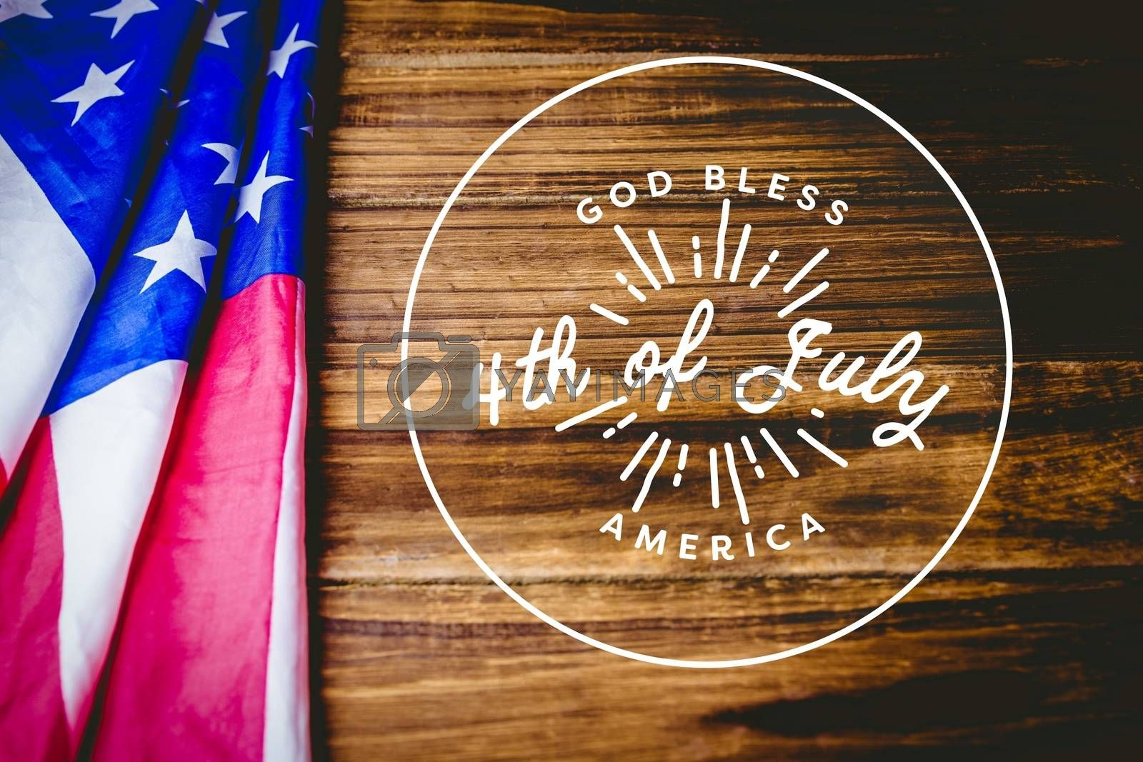 Digital composite of 4th of July design on wooden background with american flag