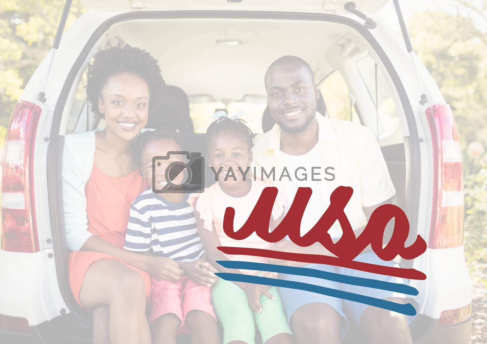 Digital composite of Smiling family in the car boot for the 4th of July