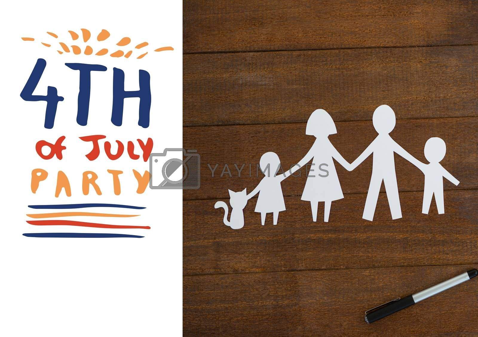 Digital composite of Invitation card for 4th of July party