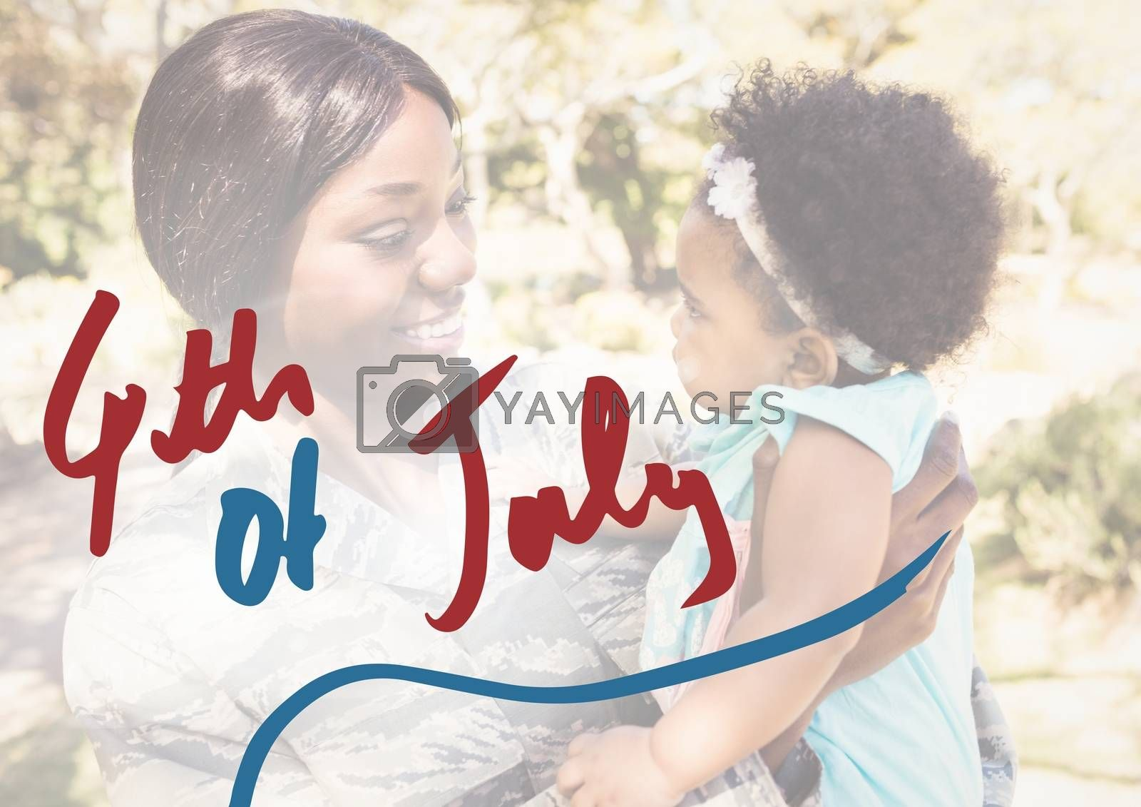 Digital composite of Mother holding her daughter for the 4th of July