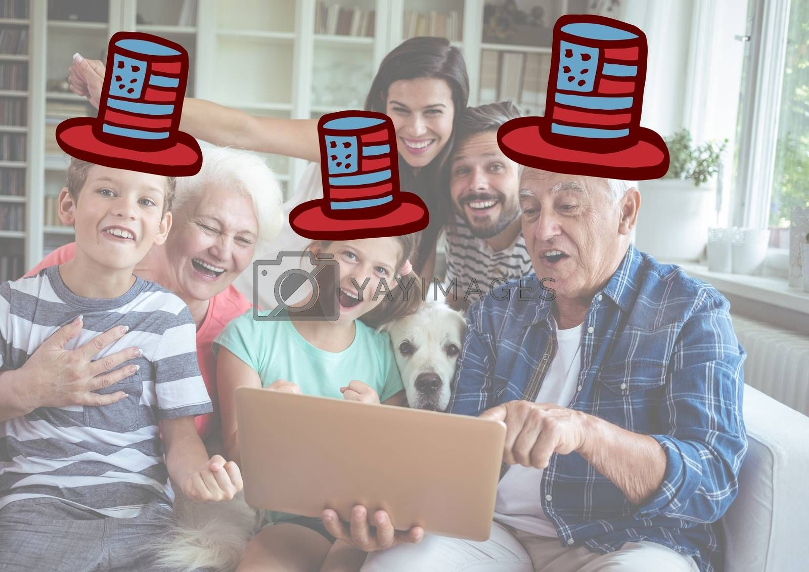 Royalty free image of Composite image of a family watching at the digital tablet with 4th of july hats by Wavebreakmedia