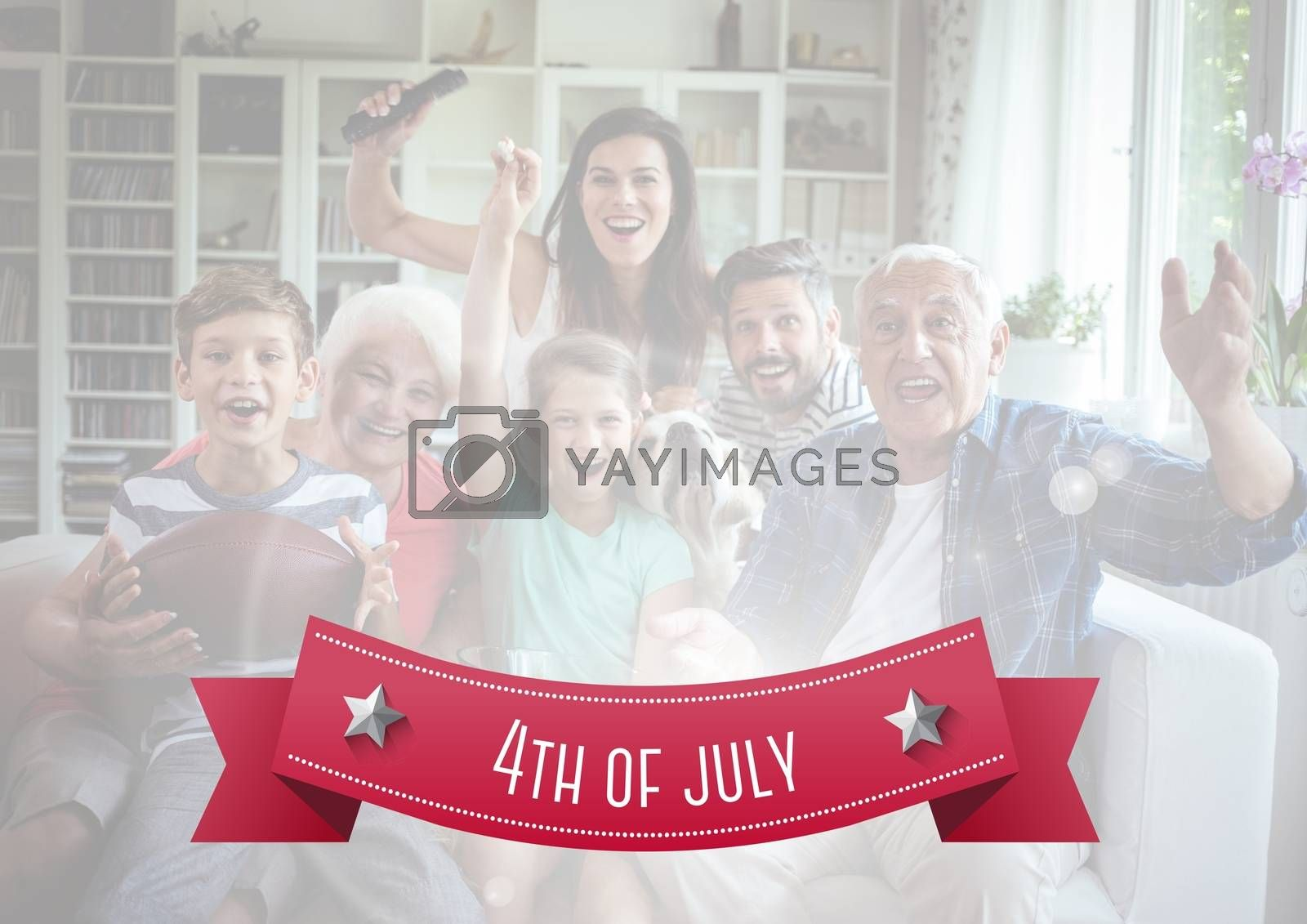 Digital composite of Happy american family on a couch for the 4th of july