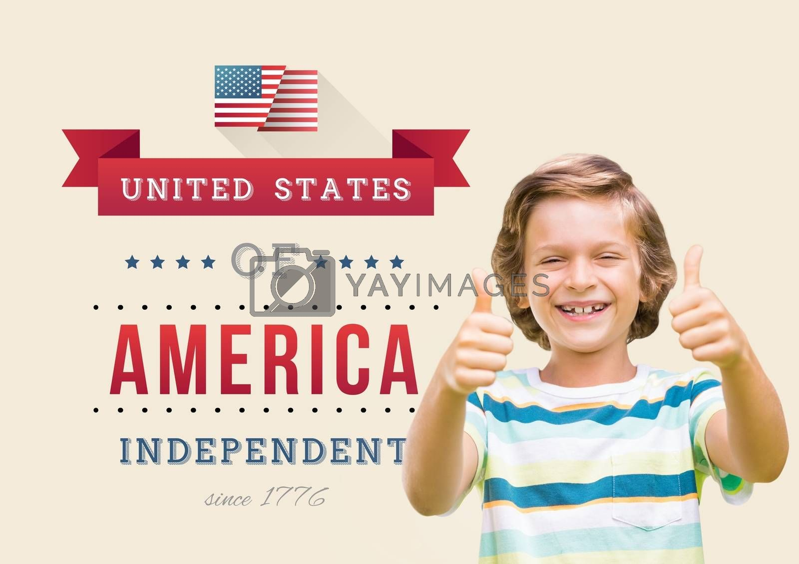 Digital composite of Children with thumbs of for the 4th of July