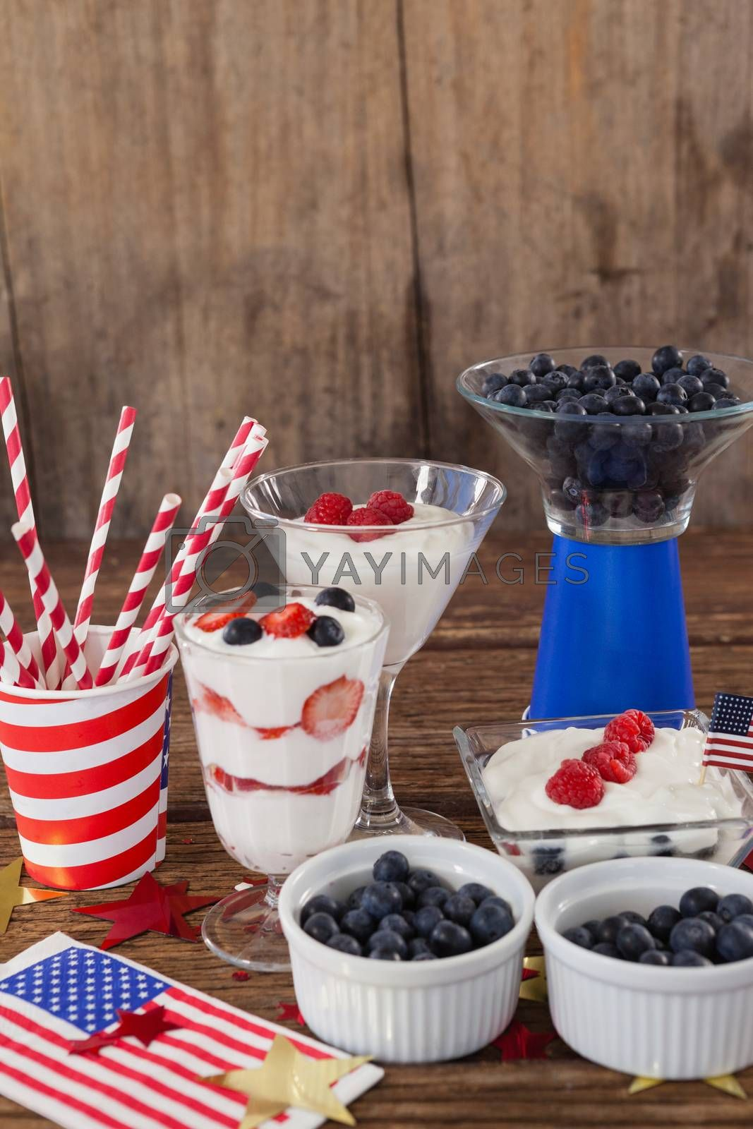 Royalty free image of Fruits and ice cream with 4th july theme by Wavebreakmedia