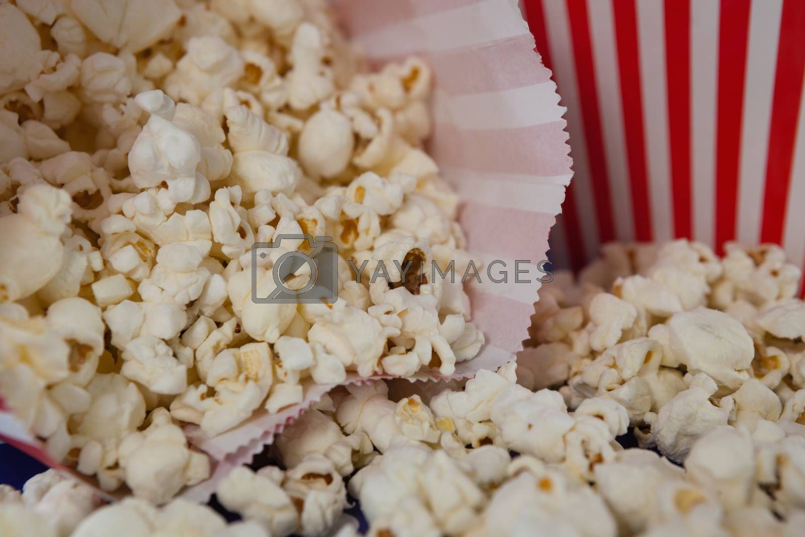 Close-up of scattered popcorn with 4th july theme