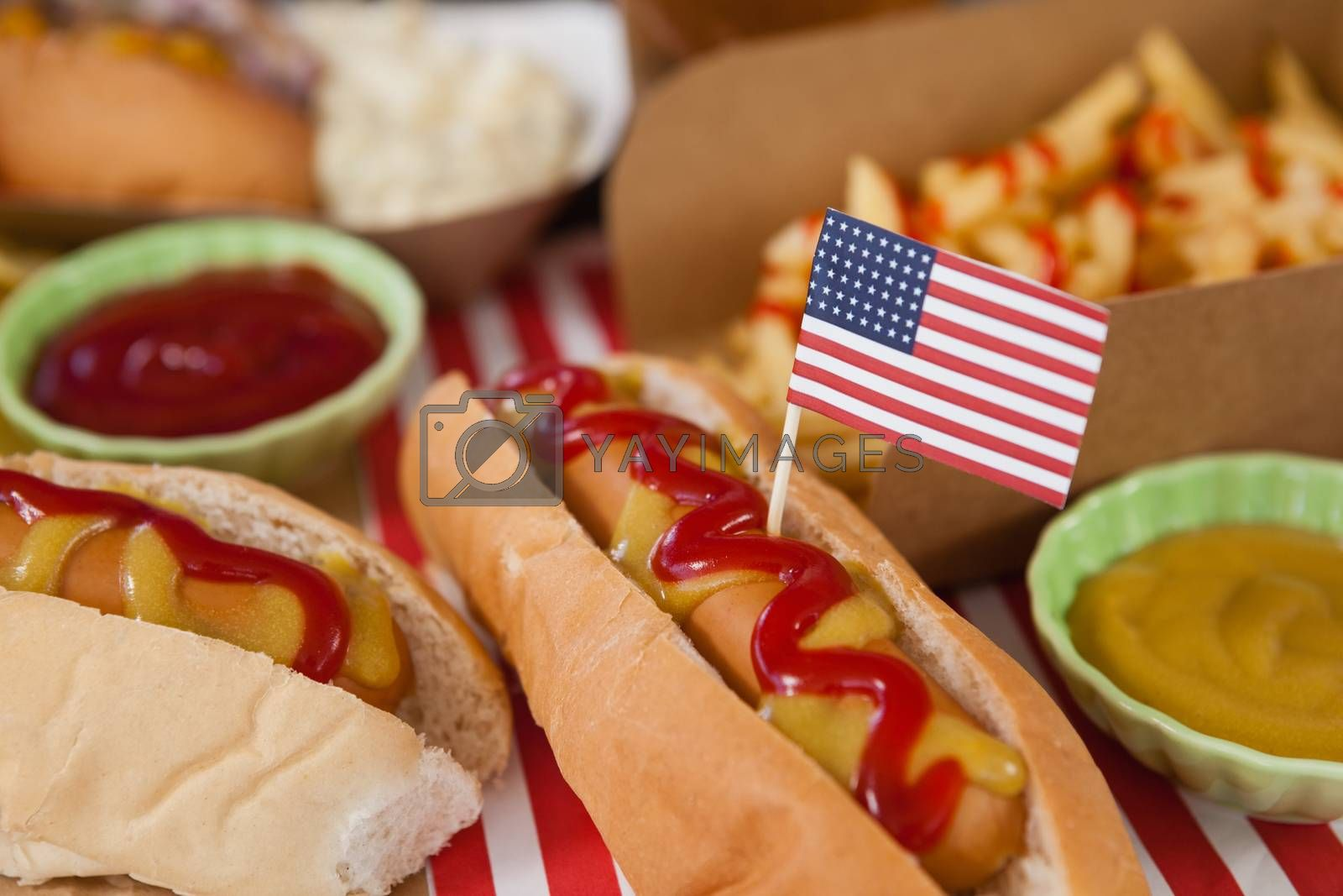 Close-up of hot dog decorated with 4th july theme