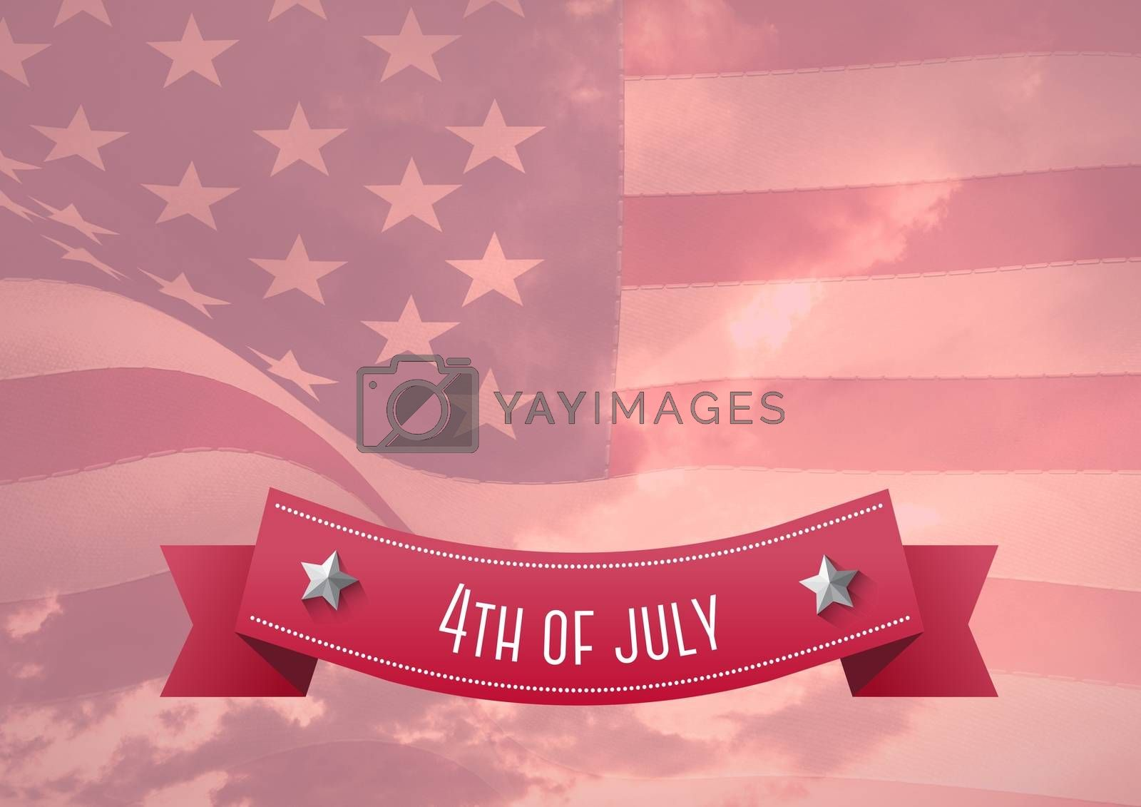 Digital composite of 4th of July design with an american flag in background