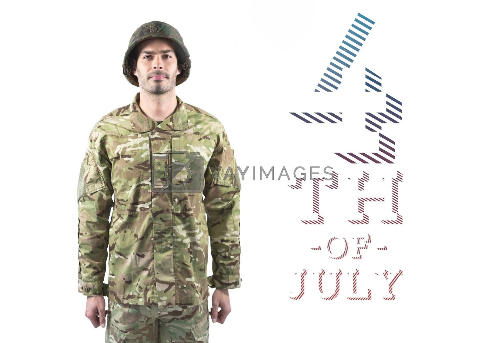 Digital composite of Proud soldier standing against 4th of July background