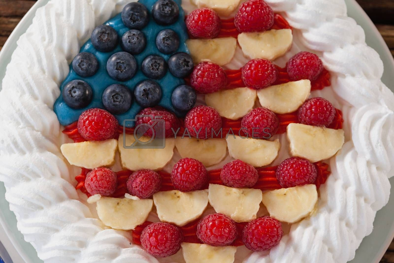 Close-up of fruitcake with 4th july theme