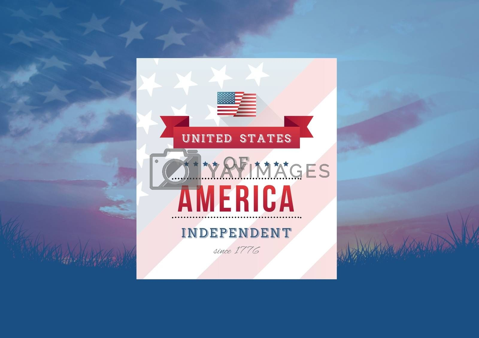 Digital composite of Independence day design with american flag