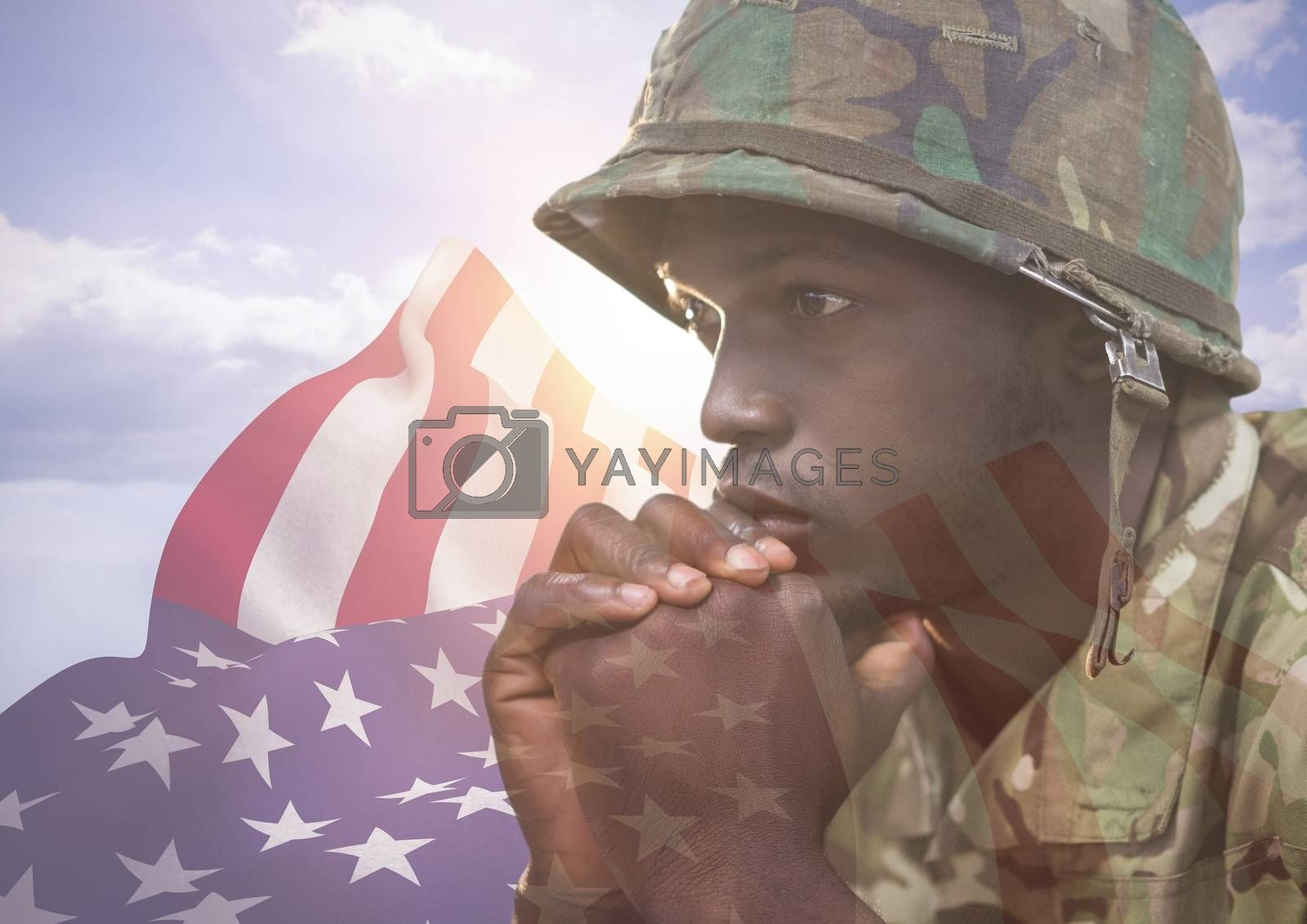 Digital composite of Close up of soldier face in front of the american flag