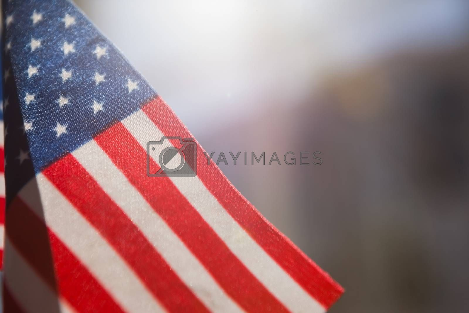 Close-up of American flag in a restaurant