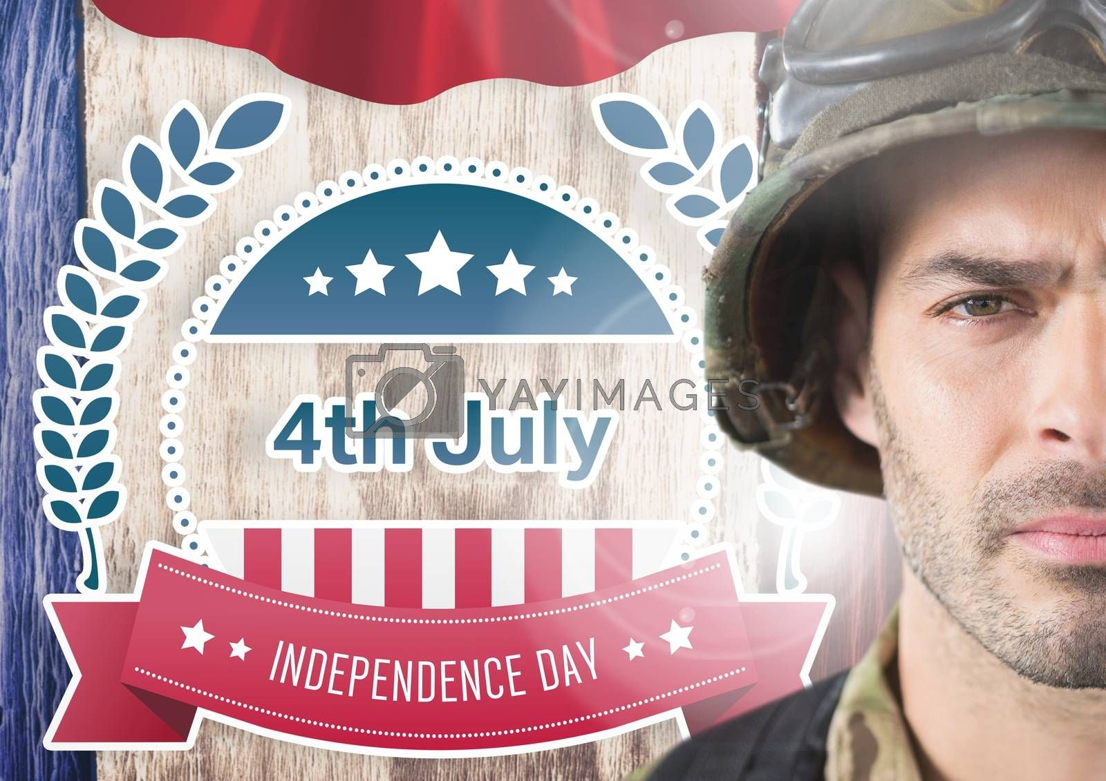 Digital composite of Proud soldier with a 4th of July design in background