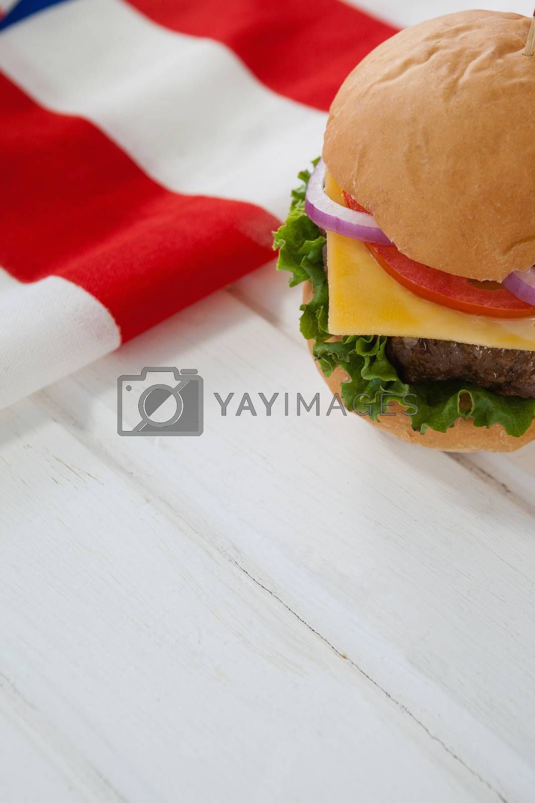 Hamburger with 4th july theme by Wavebreakmedia