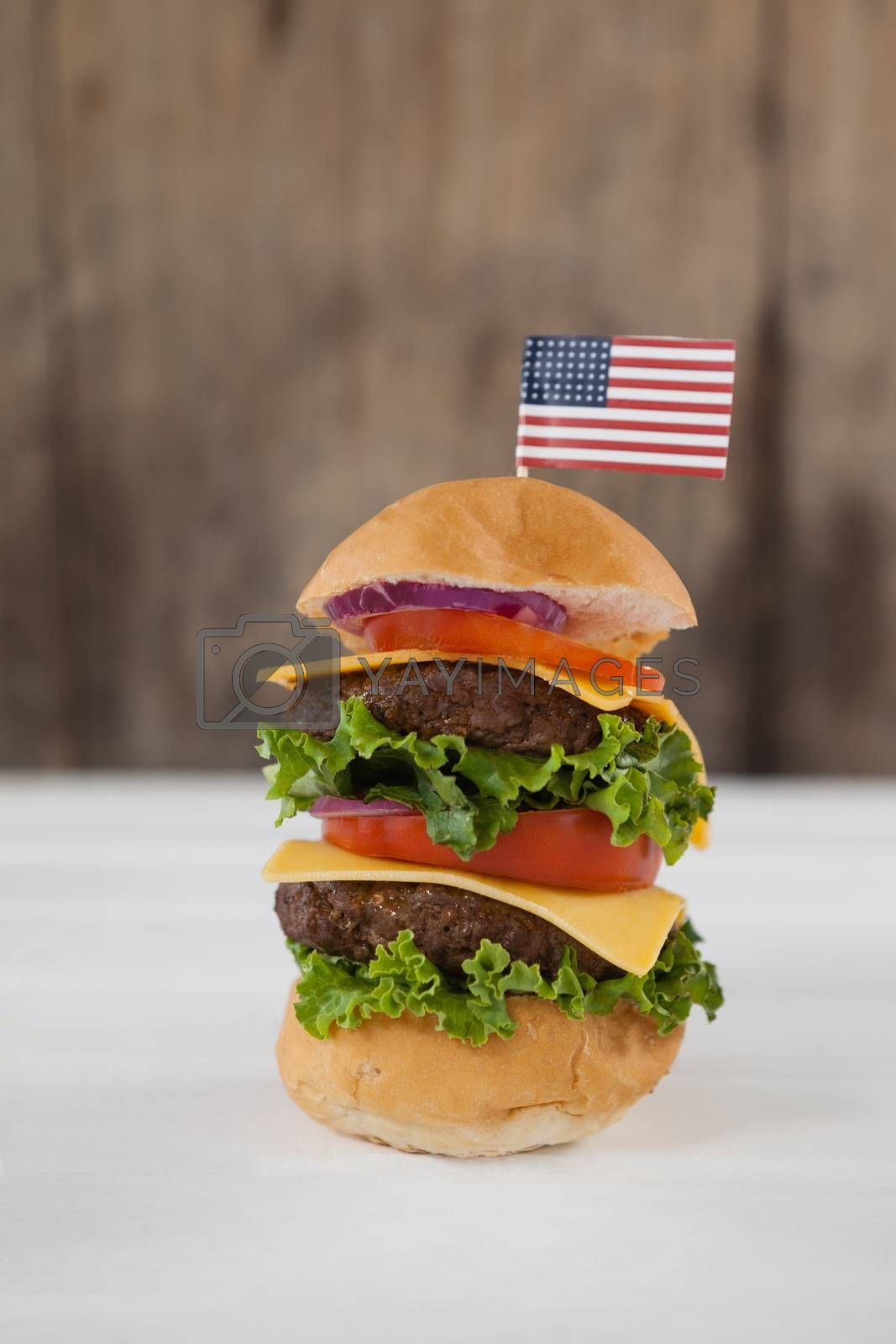 Close-up of hamburger with 4th july theme