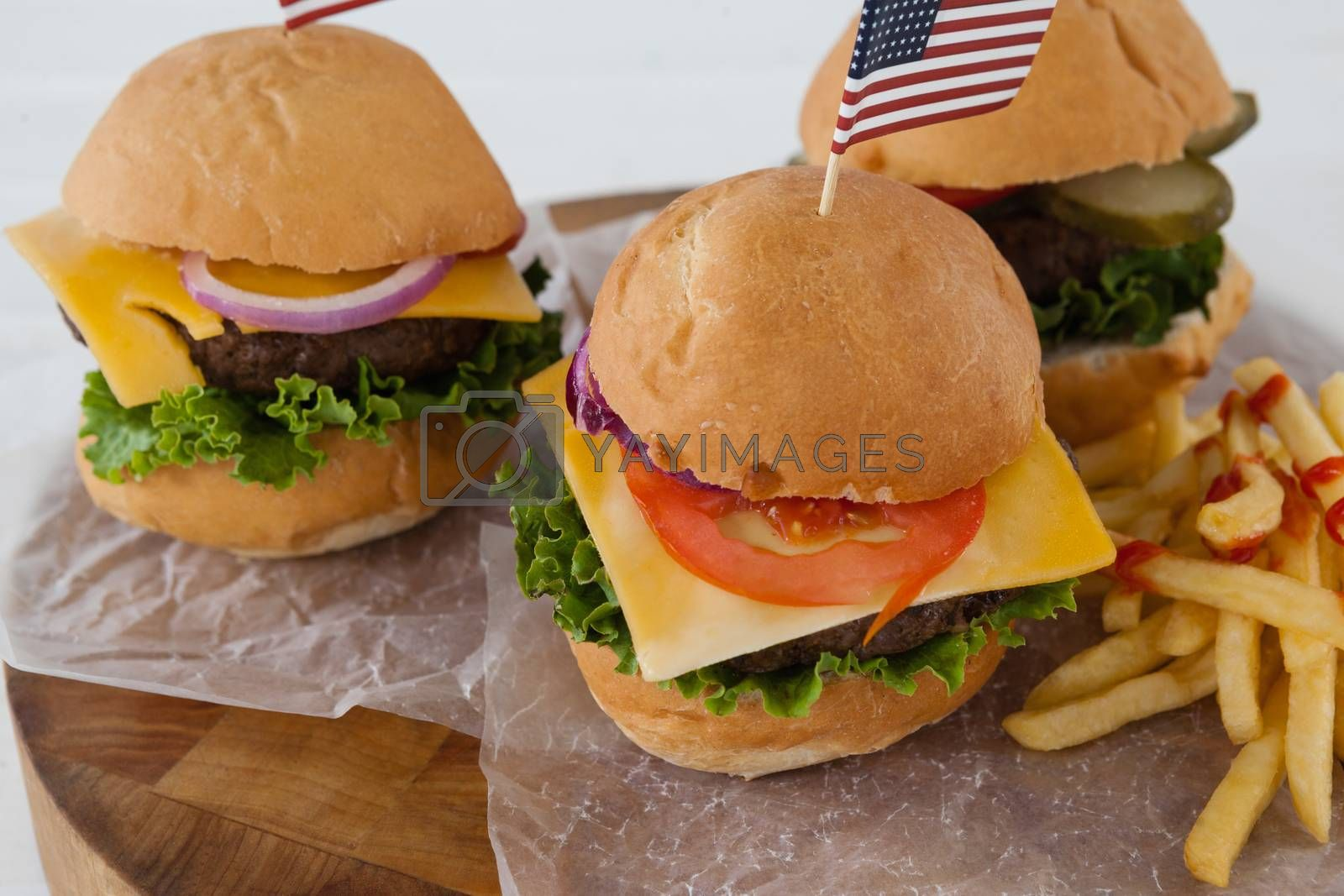 Snacks with 4th july theme on wooden board
